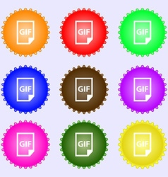 File gif icon sign big set of colorful diverse vector