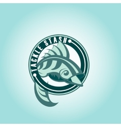 Fish logo or icon hook silhouette design vector