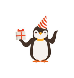 Funny cute penguin character in a party hat vector