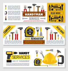 house repair banner set ot construction work tools vector image vector image