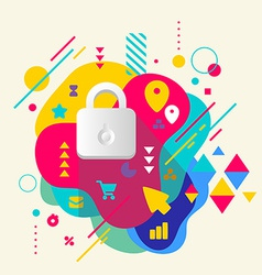 Lock on abstract colorful spotted background with vector image