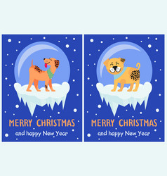 Merry christmas and happy new year dog symbol vector