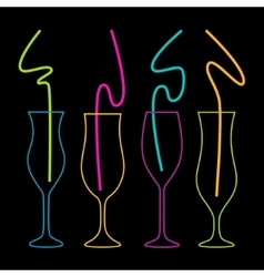 Neon colors on a black background cocktail party vector