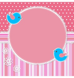 Pink frame with birds and flowers vector image