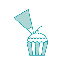 Piping bag frosting a cupcake pastry isolated on a vector