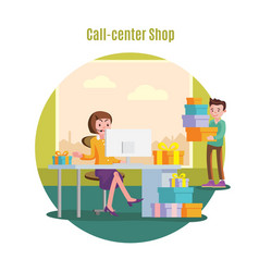 Shop helpline service concept vector