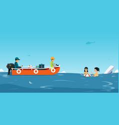 Water rescue team vector
