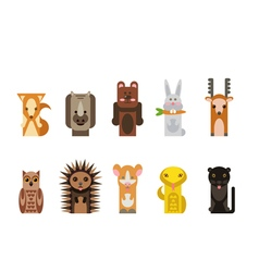 With animals different forest animals rabbit bear vector