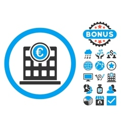 Euro company building flat icon with bonus vector