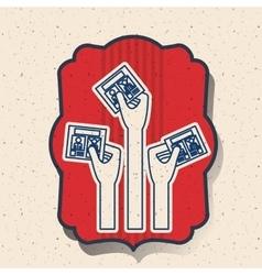 Card of vote inside frame design vector