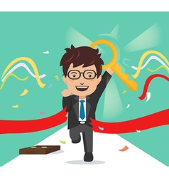 Businessman crosses a finish line red ribbon vector
