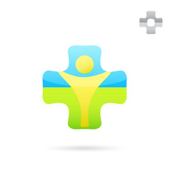 Medical cross logo with human body inside vector