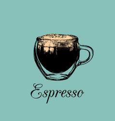 glass mug cup of coffee espresso vector image