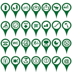 Map pointers different symbols vector image