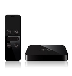 Tv player box device with remote controller vector