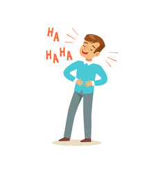 Happy boy with dark brown hair laughing out loud vector