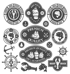Nautical labels set vector