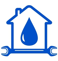 Water drop with wrench on home vector