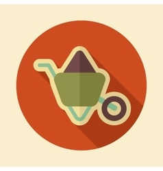 Wheelbarrow carts retro flat icon with long shadow vector