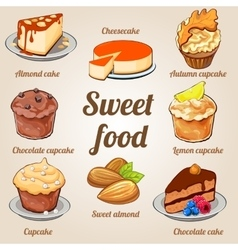 Eight delicious cakes and cupcakes in one set vector