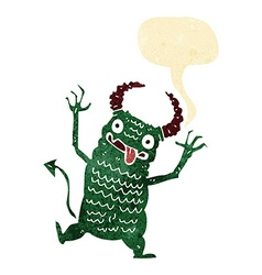 Cartoon demon with speech bubble vector