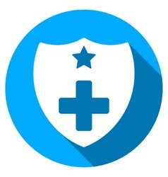 Medical insurance shield flat round icon with long vector