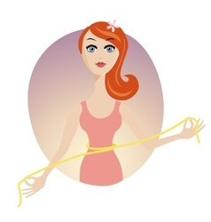 Elegant women waist with a yellow measuring tape vector