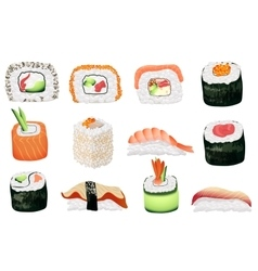 Sushi set japanese seafood sushi rolls collection vector