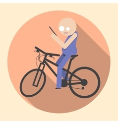 Man with smartphone riding bicycle vector