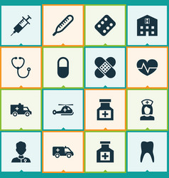 Antibiotic icons set collection of retreat vector