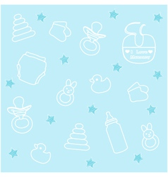 baby boy elements blue background vector image