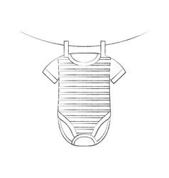 Baby shower clothes hanging line celebration vector