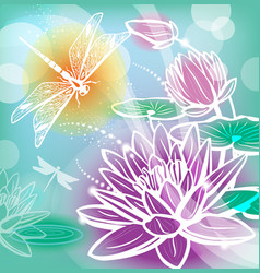 Background with flowers lotus and dragonfly vector