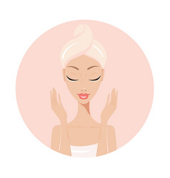Beautiful young woman perfect face skin beauty spa vector