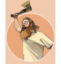 cartoon enraged man attacked with an ax in his vector image
