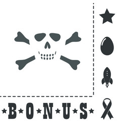 Cartoon skull with bones icon vector