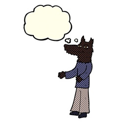 Cartoon wolf man with thought bubble vector