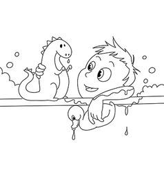 Child having a bath bw vector image
