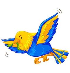 Colorful bird eathing worm vector