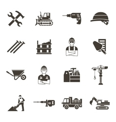 Construction Black Icon Set vector image vector image