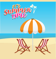 Deck chair and umbrella on beach vector