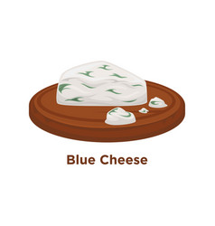 Exquisite expensive blue cheese triangular piece vector