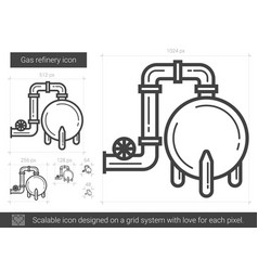 Gas refinery line icon vector