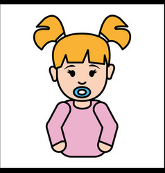 Girl baby with pacifier icon vector