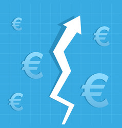 Graph arrow up euro increase value vector