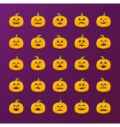 Halloween pumkin stickers with different emotions vector