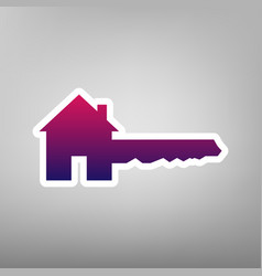 Home key sign purple gradient icon on vector
