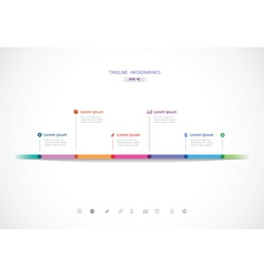 Horizontal timeline with six color points for vector