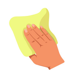 human hand holding yellow duster isolated on white vector image