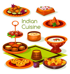 Indian cuisine lunch with traditional asian food vector